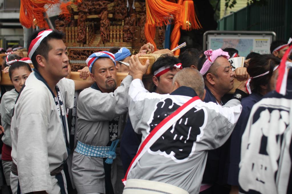 Carrying an omikoshi shrine in Japan